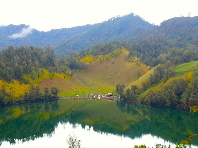 Ranu Kumbolo Lake with its camping ground