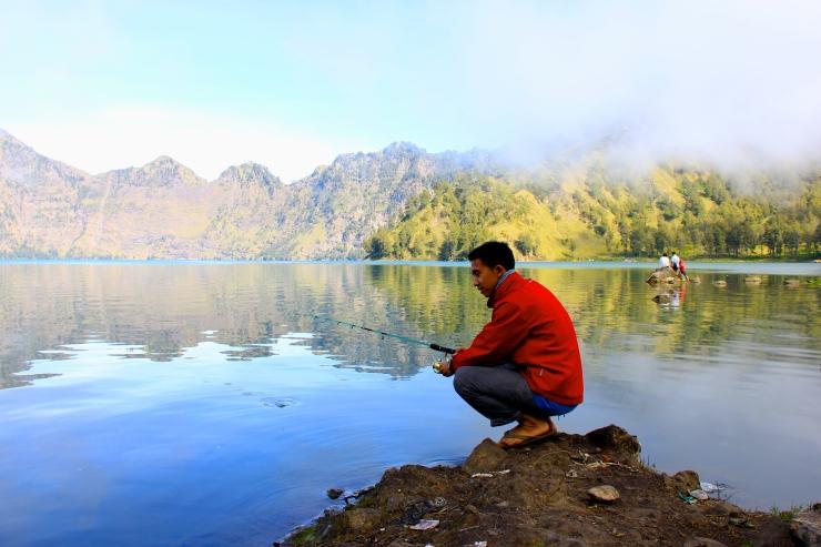 Fishing at Segara Anak Lake
