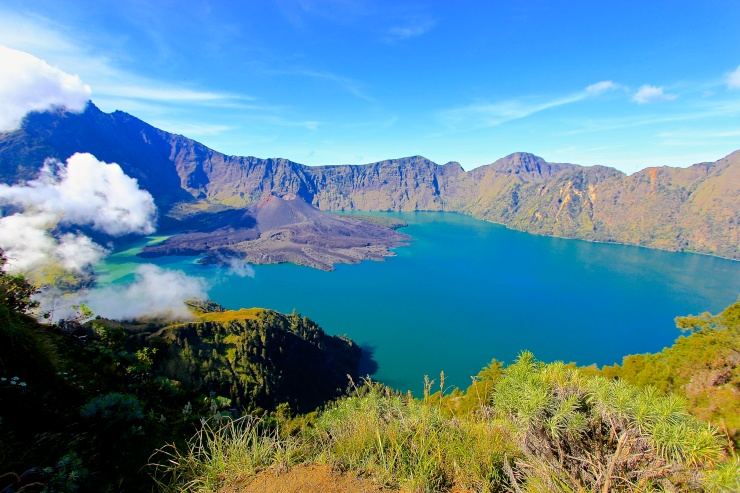 Segara Anaka Lake, Mount Barujari and Peak of Rinjani seen from Pelawangan Senaru