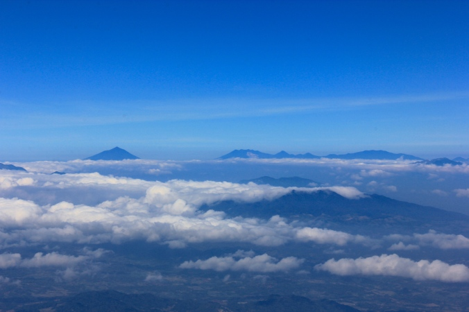 Mt. Cikurai and Mt. Papandayan of Garut seen from Mt. Ciremai